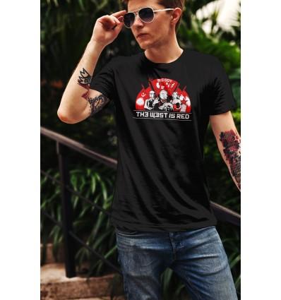 Мъжка тениска с щампа The West is red