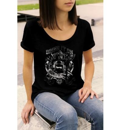 Дамска тениска с щампа Bulldog Fire