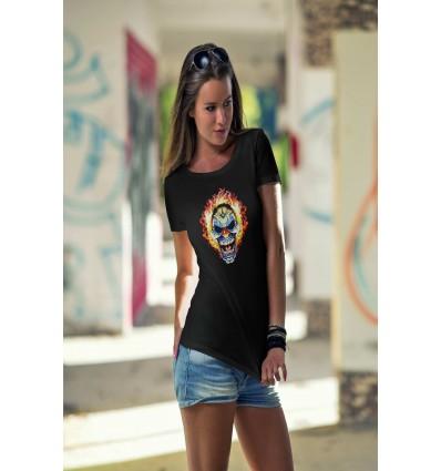 Дамска тениска с щампа Flaming Skull